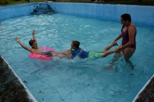 Playing in the pool on Sunday
