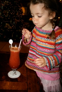 Savoring a smoothie at Hotel Llao Llao
