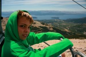 Elliott on the Cerro Catedral chairlift