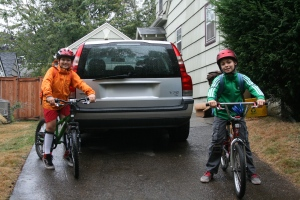 Riding bikes to school